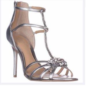 Badgley Mischka Hazel II Jewel Heel Size 10 Silver